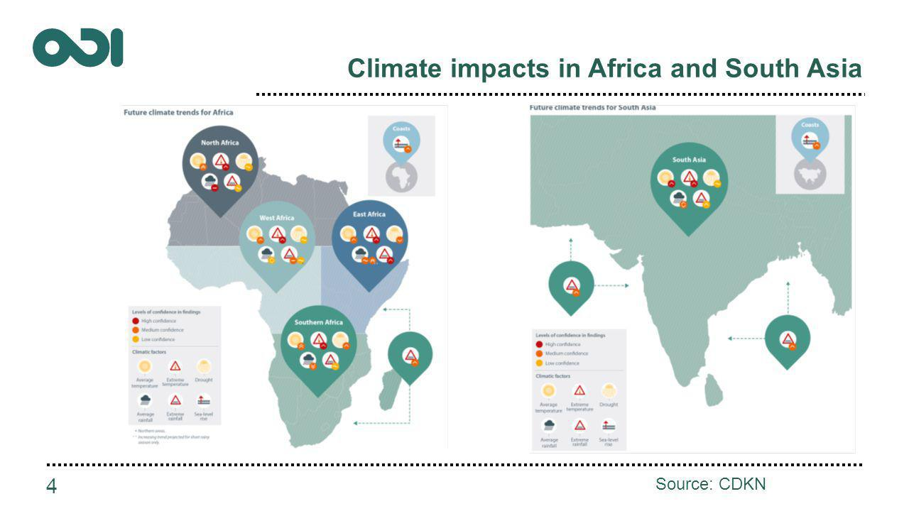 Climate impacts in Africa and South Asia 4 Source: CDKN