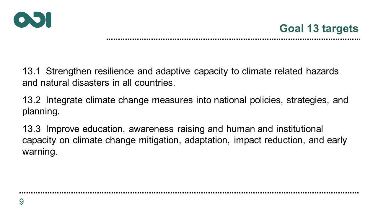 Goal 13 targets 13.1 Strengthen resilience and adaptive capacity to climate related hazards and natural disasters in all countries.