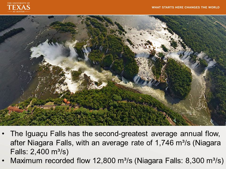 The Iguaçu Falls has the second-greatest average annual flow, after Niagara Falls, with an average rate of 1,746 m³/s (Niagara Falls: 2,400 m³/s) Maxi