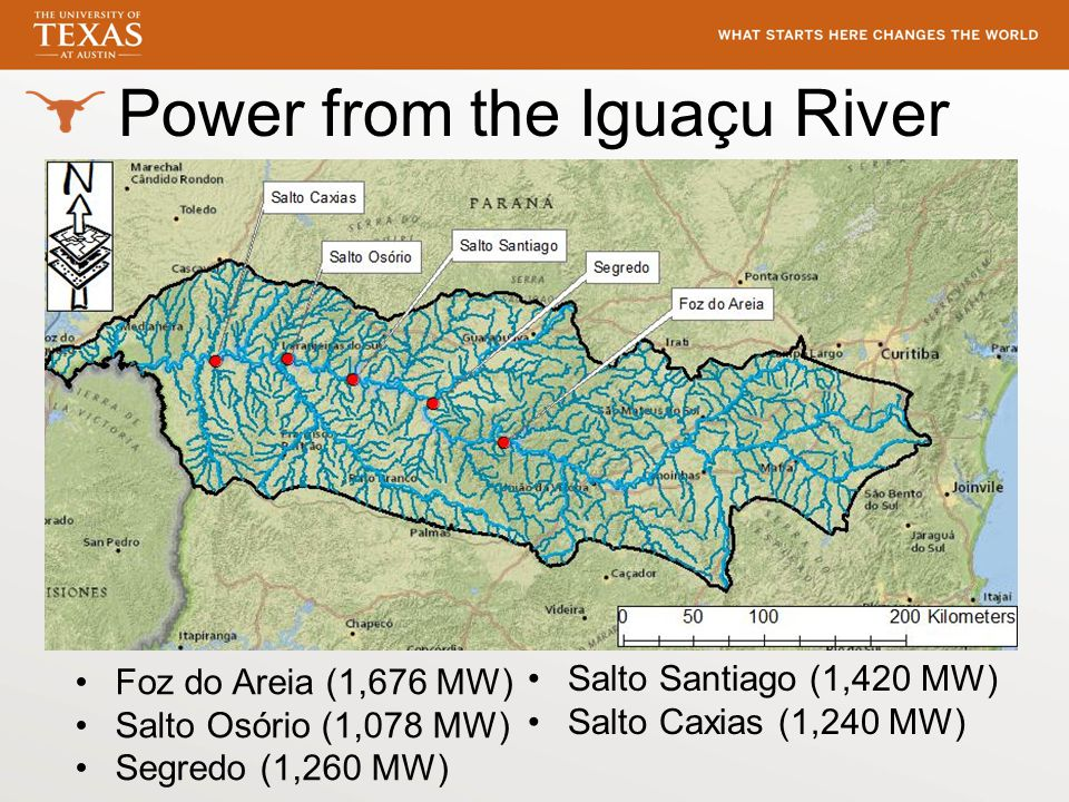 Power from the Iguaçu River Foz do Areia (1,676 MW) Salto Osório (1,078 MW) Segredo (1,260 MW) Salto Santiago (1,420 MW) Salto Caxias (1,240 MW)