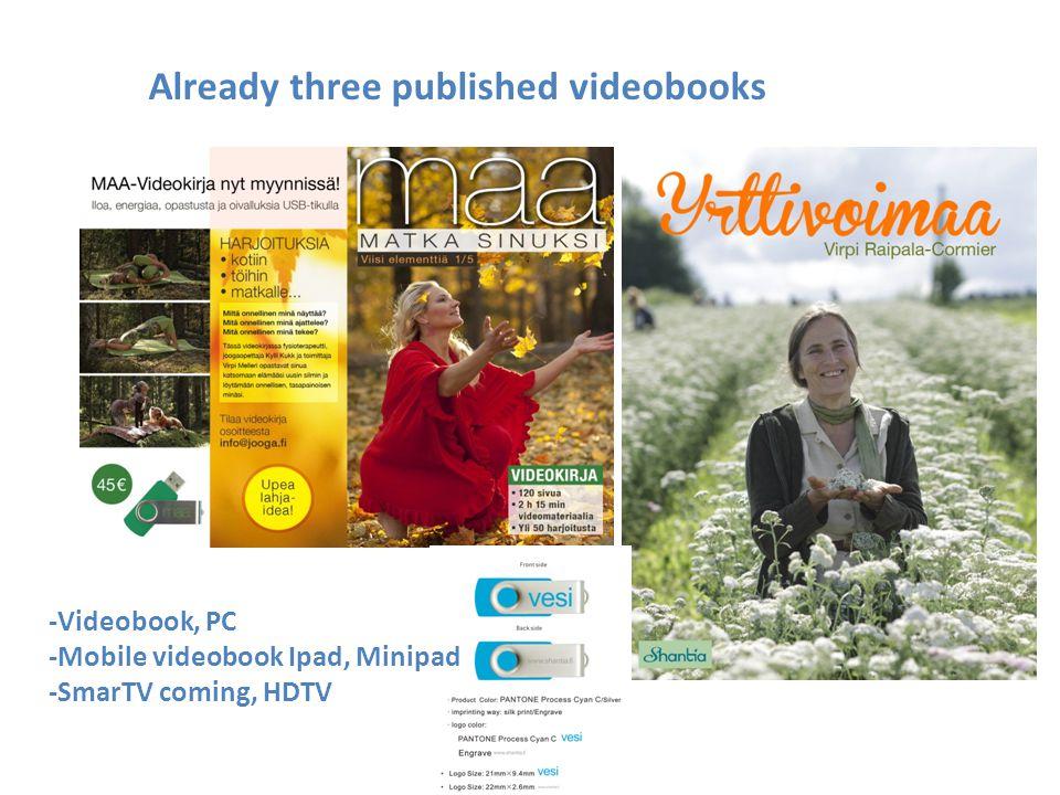 Already three published videobooks -Videobook, PC -Mobile videobook Ipad, Minipad -SmarTV coming, HDTV
