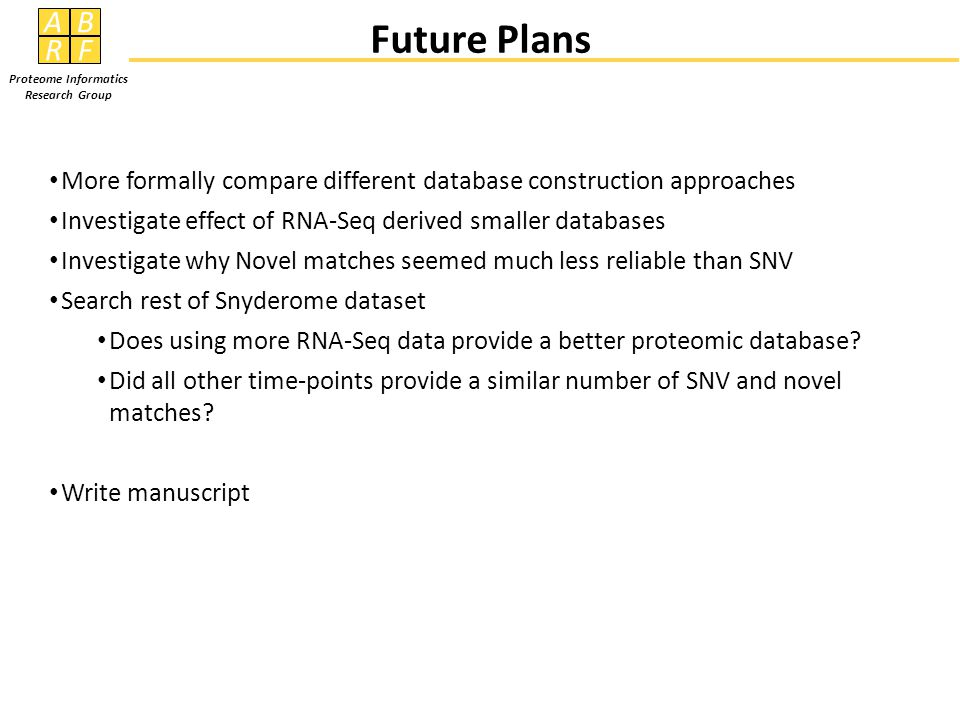 AB RF Proteome Informatics Research Group Future Plans More formally compare different database construction approaches Investigate effect of RNA-Seq derived smaller databases Investigate why Novel matches seemed much less reliable than SNV Search rest of Snyderome dataset Does using more RNA-Seq data provide a better proteomic database.