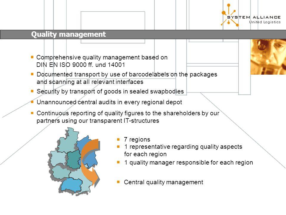 Comprehensive quality management based on DIN EN ISO 9000 ff.