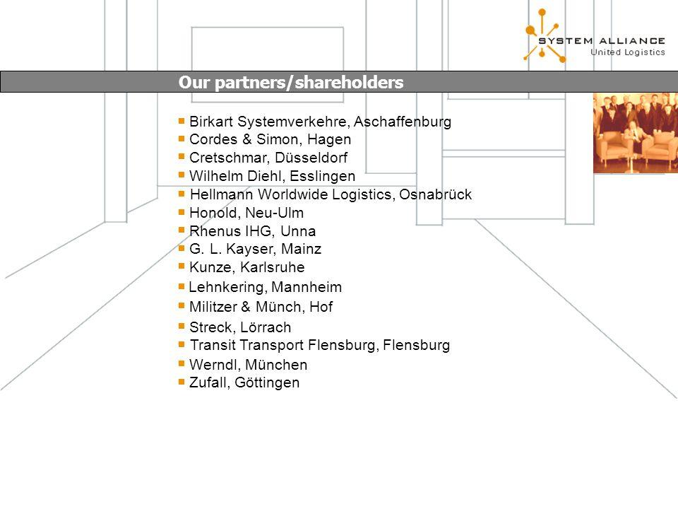 Our partners/shareholders Birkart Systemverkehre, Aschaffenburg Cordes & Simon, Hagen Cretschmar, Düsseldorf Wilhelm Diehl, Esslingen Hellmann Worldwide Logistics, Osnabrück Honold, Neu-Ulm Rhenus IHG, Unna Kunze, Karlsruhe Militzer & Münch, Hof Lehnkering, Mannheim Streck, Lörrach Transit Transport Flensburg, Flensburg Werndl, München Zufall, Göttingen G.