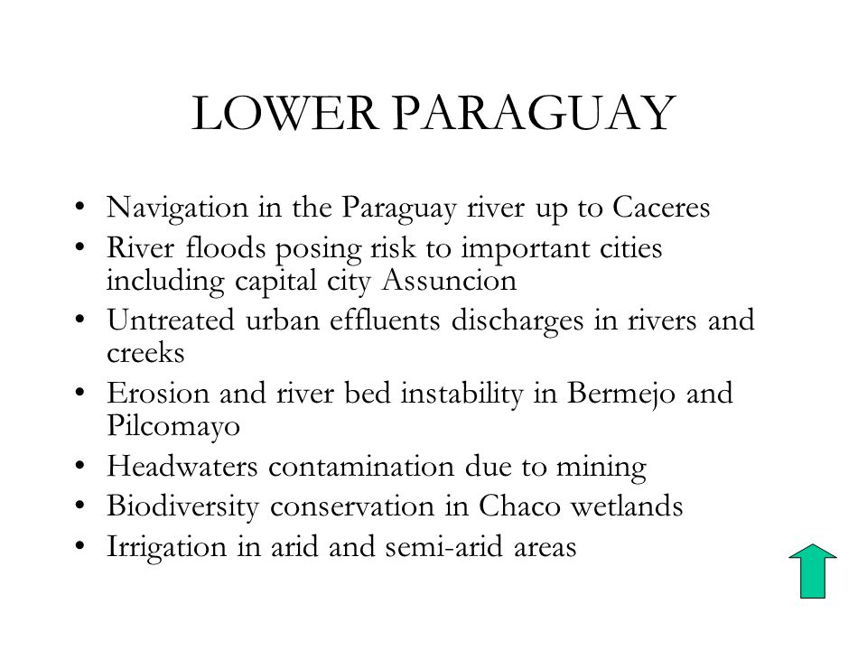 LOWER PARAGUAY Navigation in the Paraguay river up to Caceres River floods posing risk to important cities including capital city Assuncion Untreated urban effluents discharges in rivers and creeks Erosion and river bed instability in Bermejo and Pilcomayo Headwaters contamination due to mining Biodiversity conservation in Chaco wetlands Irrigation in arid and semi-arid areas