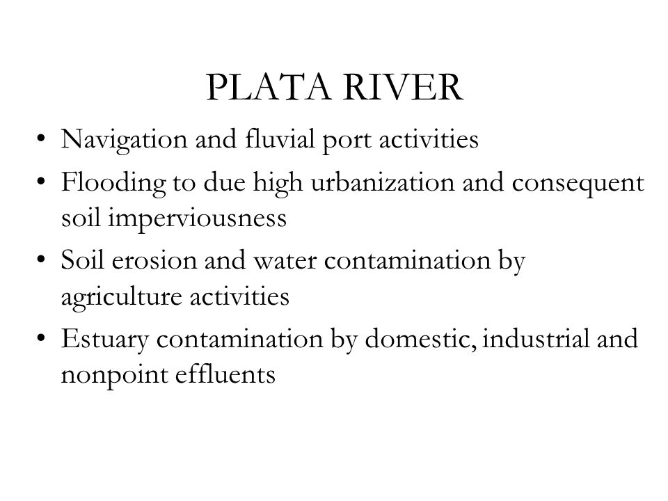 PLATA RIVER Navigation and fluvial port activities Flooding to due high urbanization and consequent soil imperviousness Soil erosion and water contamination by agriculture activities Estuary contamination by domestic, industrial and nonpoint effluents