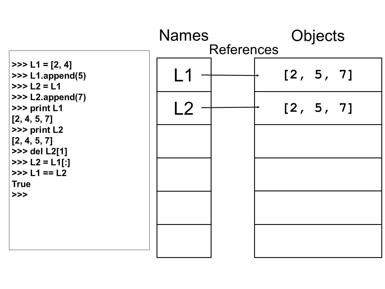 [2, 5, 7] Objects L1 L2 Names References >>> L1 = [2, 4] >>> L1.append(5) >>> L2 = L1 >>> L2.append(7) >>> print L1 [2, 4, 5, 7] >>> print L2 [2, 4, 5, 7] >>> del L2[1] >>> L2 = L1[:] >>> L1 == L2 True >>>
