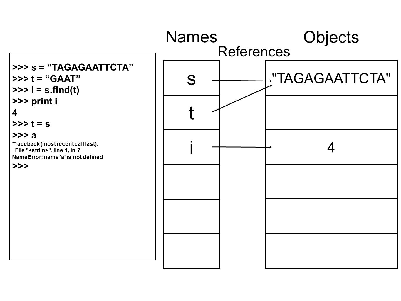 TAGAGAATTCTA 4 Objects s t i Names References >>> s = TAGAGAATTCTA >>> t = GAAT >>> i = s.find(t) >>> print i 4 >>> t = s >>> a Traceback (most recent call last): File , line 1, in .