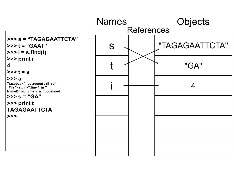 TAGAGAATTCTA GA 4 Objects s t i Names References >>> s = TAGAGAATTCTA >>> t = GAAT >>> i = s.find(t) >>> print i 4 >>> t = s >>> a Traceback (most recent call last): File , line 1, in .