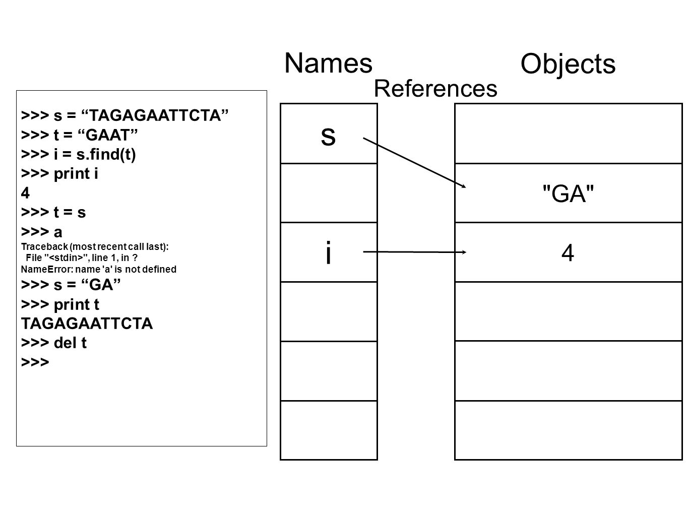 GA 4 Objects s i Names References >>> s = TAGAGAATTCTA >>> t = GAAT >>> i = s.find(t) >>> print i 4 >>> t = s >>> a Traceback (most recent call last): File , line 1, in .