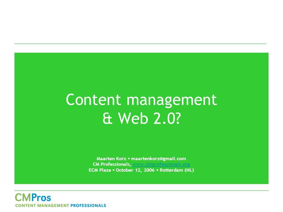 Content management & Web 2.0.