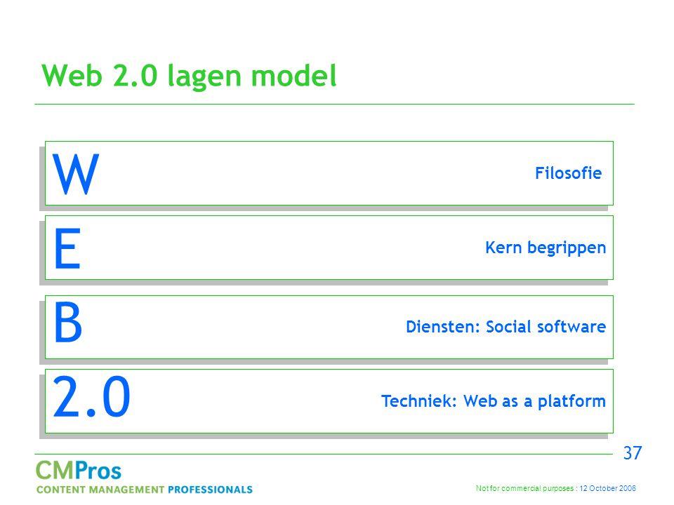 Not for commercial purposes : 12 October 2006 37 Web 2.0 lagen model W E B 2.0 Techniek: Web as a platform Diensten: Social software Kern begrippen Filosofie