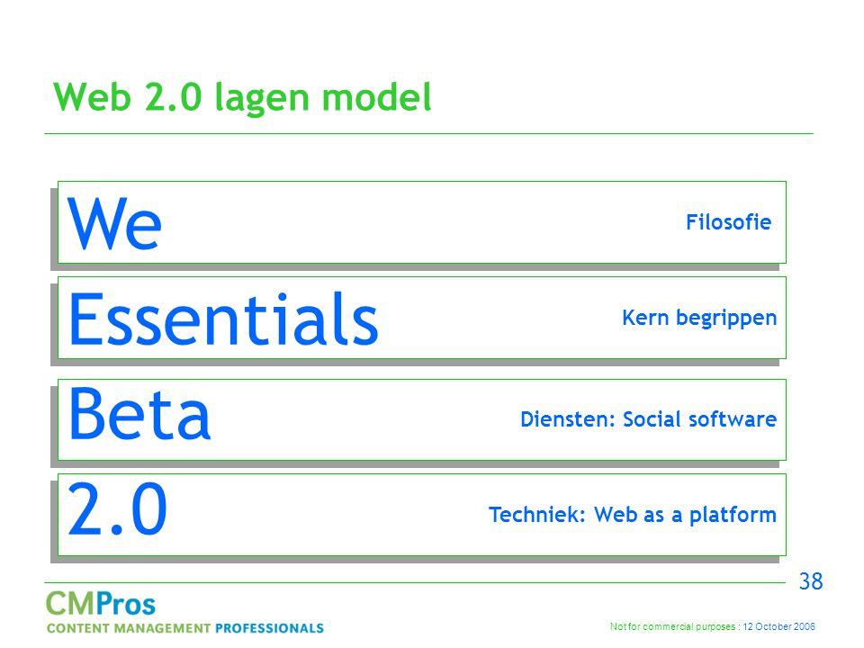 Not for commercial purposes : 12 October 2006 38 Web 2.0 lagen model Techniek: Web as a platform Diensten: Social software Kern begrippen Filosofie We Essentials Beta 2.0