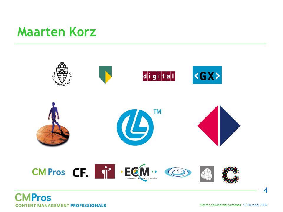 Not for commercial purposes : 12 October 2006 4 Maarten Korz