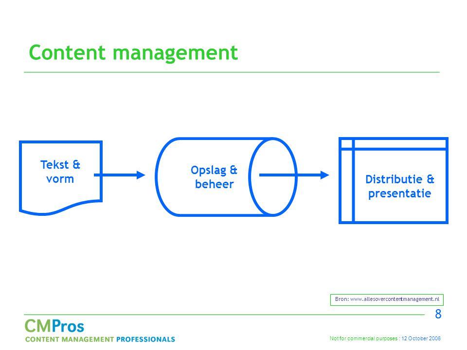 Not for commercial purposes : 12 October 2006 8 Content management Tekst & vorm Opslag & beheer Distributie & presentatie Bron: www.allesovercontentmanagement.nl