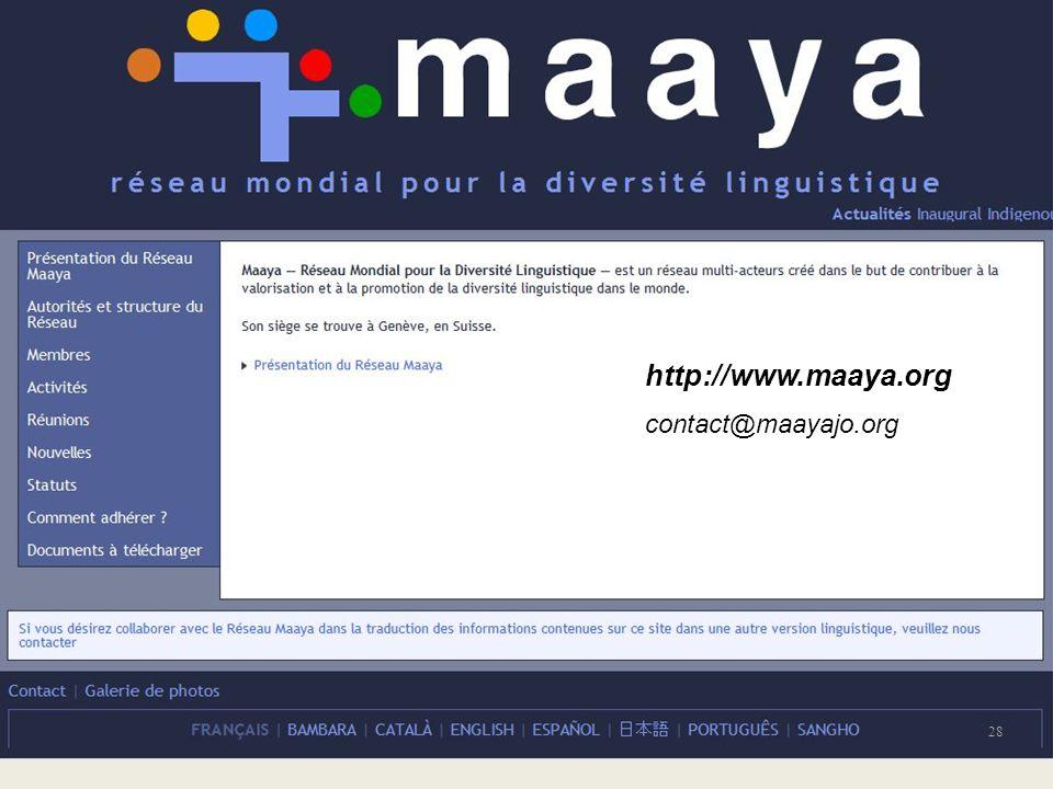 http://www.maaya.org contact@maayajo.org 28