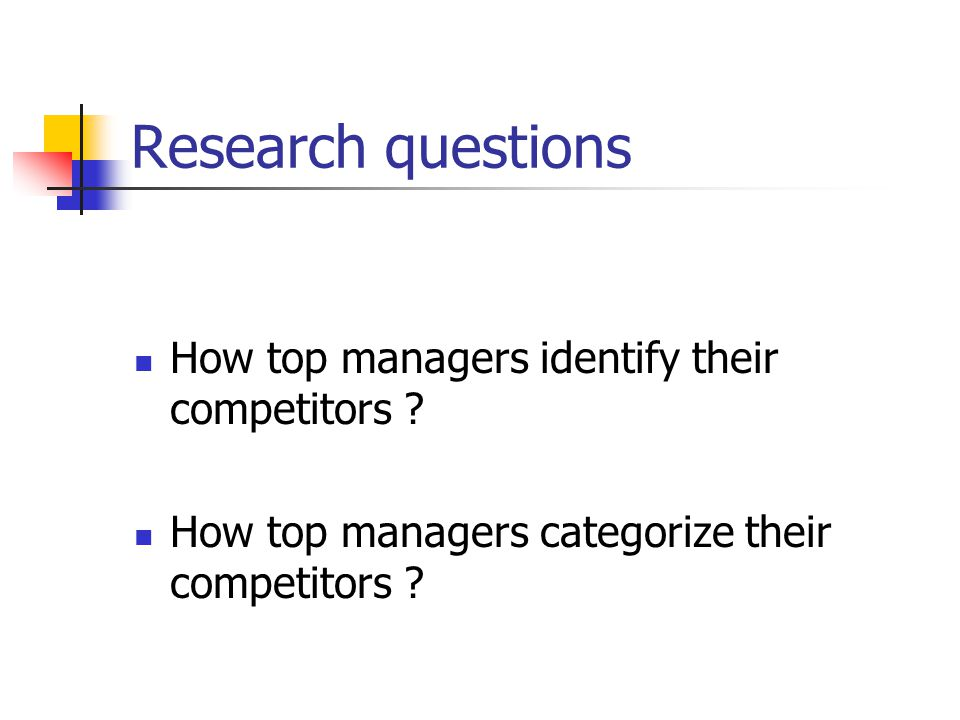 Identification and categorization of main competitors A small number of competitors identified The main dimensions used to categorize: - Offer rather than demand - Size