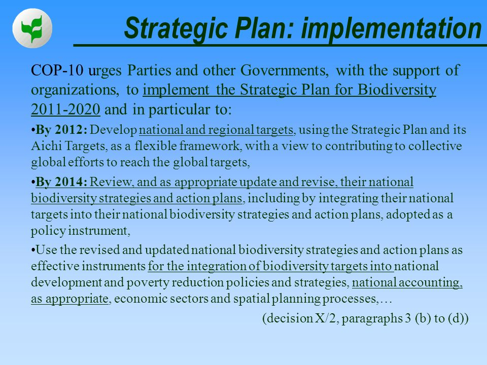 Strategic Plan: implementation COP-10 urges Parties and other Governments, with the support of organizations, to implement the Strategic Plan for Biod