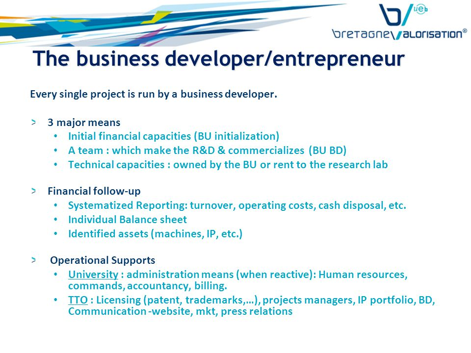 The business developer/entrepreneur Every single project is run by a business developer.
