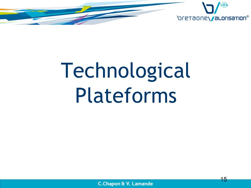 Technological Plateforms C.Chapon & V. Lamande 15