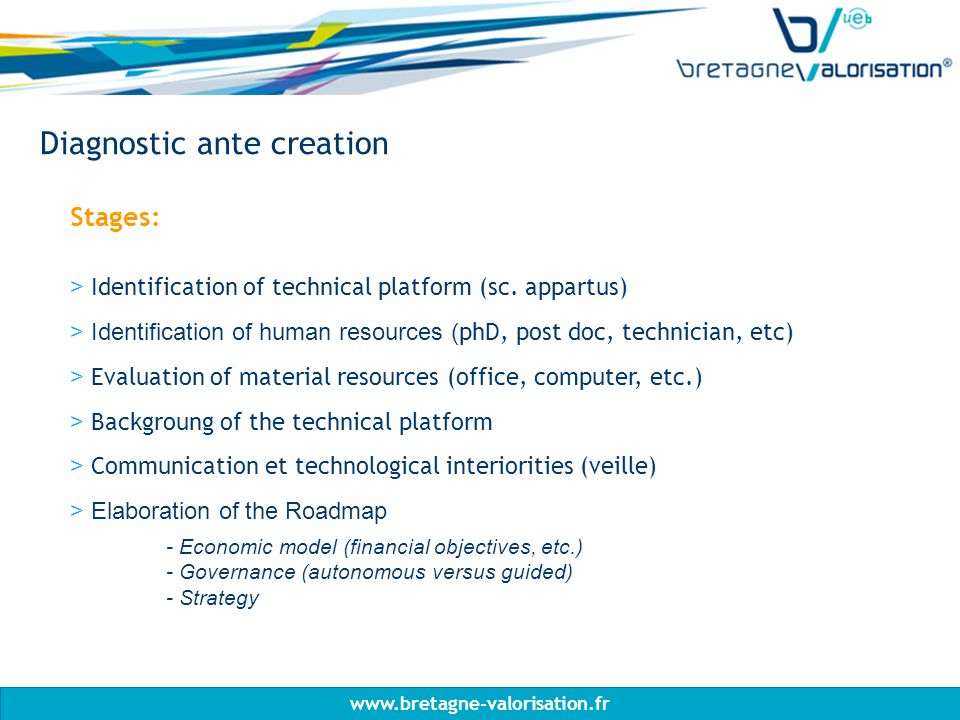 Diagnostic ante creation Stages: > Identification of technical platform (sc.