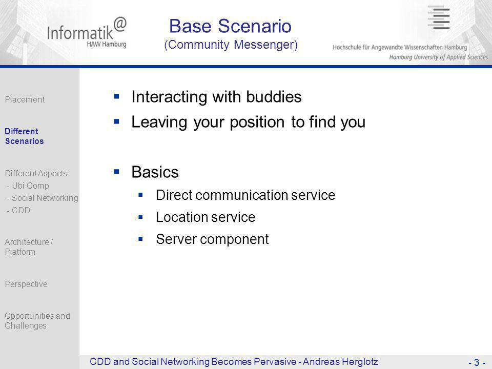 Base Scenario (Community Messenger)  Interacting with buddies  Leaving your position to find you  Basics  Direct communication service  Location service  Server component - 3 - CDD and Social Networking Becomes Pervasive - Andreas Herglotz Placement Different Scenarios Different Aspects: - Ubi Comp - Social Networking - CDD Architecture / Platform Perspective Opportunities and Challenges