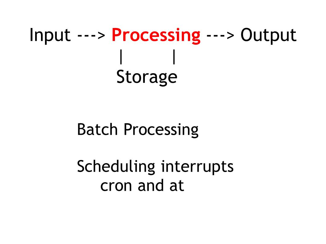 Input ---> Processing ---> Output | | Storage Scheduling interrupts cron and at Batch Processing