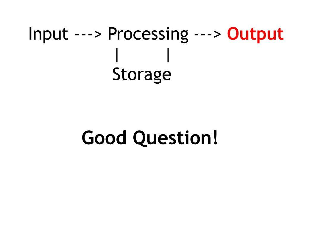 Input ---> Processing ---> Output | | Storage Good Question!