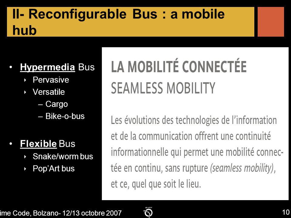 Time Code, Bolzano- 12/13 octobre 2007 10 Time code, Bolzano, october 2007 II- Reconfigurable Bus : a mobile hub Hypermedia Bus ‣ Pervasive ‣ Versatile –Cargo –Bike-o-bus Flexible Bus ‣ Snake/worm bus ‣ Pop'Art bus
