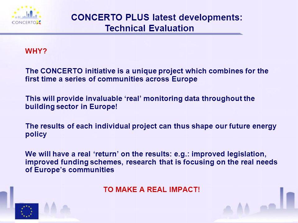 CONCERTO PLUS latest developments: Technical Evaluation The CONCERTO Technical Monitoring Database Technical Monitoring Database (Screenshots)