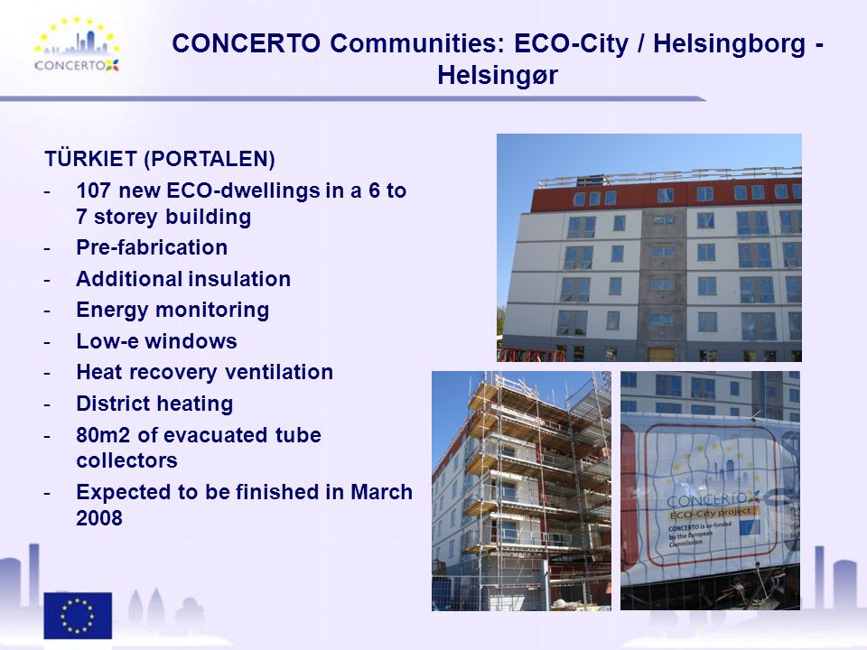 CONCERTO Communities: ECO-City / Helsingborg - Helsingør Other ongoing demonstration projects: -New Prototype for Comfort Metering (see image) -Rehabilitation of boiler station to use biomass (5MW) -2MW Wind Power Turbine (Planning stage)