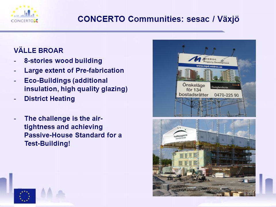 CONCERTO Communities: sesac / Växjö VÄLLE BROAR -8-stories wood building -Large extent of Pre-fabrication -Eco-Buildings (additional insulation, high quality glazing) -District Heating -The challenge is the air- tightness and achieving Passive-House Standard for a Test-Building!