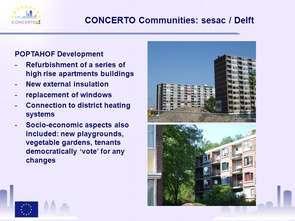 CONCERTO Communities: sesac / Delft POPTAHOF Development -Refurbishment of a series of high rise apartments buildings -New external insulation -replacement of windows -Connection to district heating systems -Socio-economic aspects also included: new playgrounds, vegetable gardens, tenants democratically 'vote' for any changes