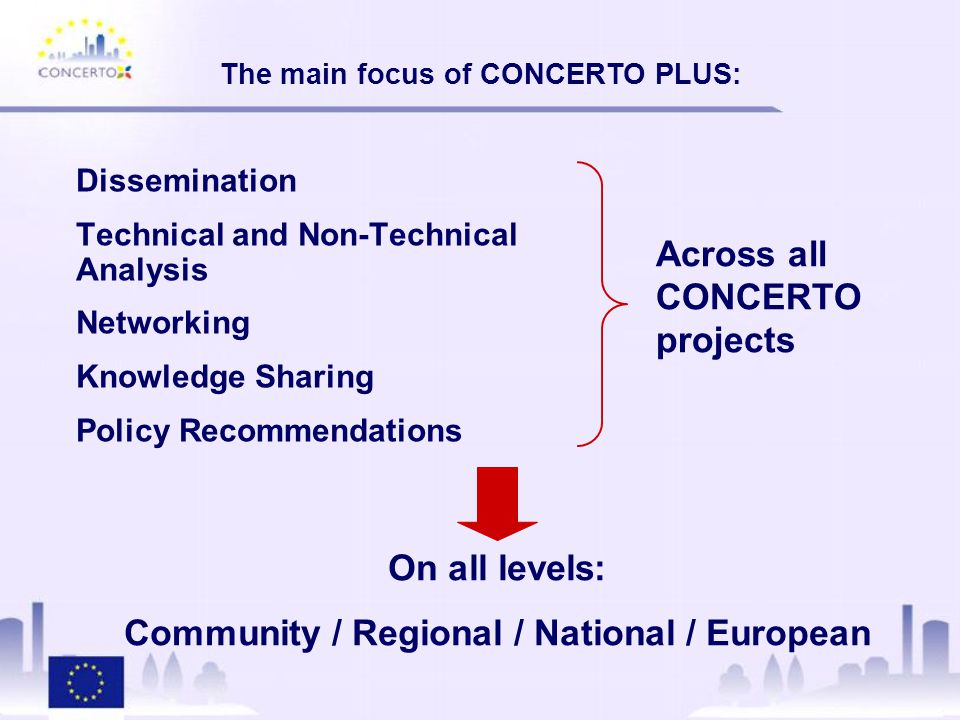 Dissemination Technical and Non-Technical Analysis Networking Knowledge Sharing Policy Recommendations The main focus of CONCERTO PLUS: Across all CONCERTO projects On all levels: Community / Regional / National / European