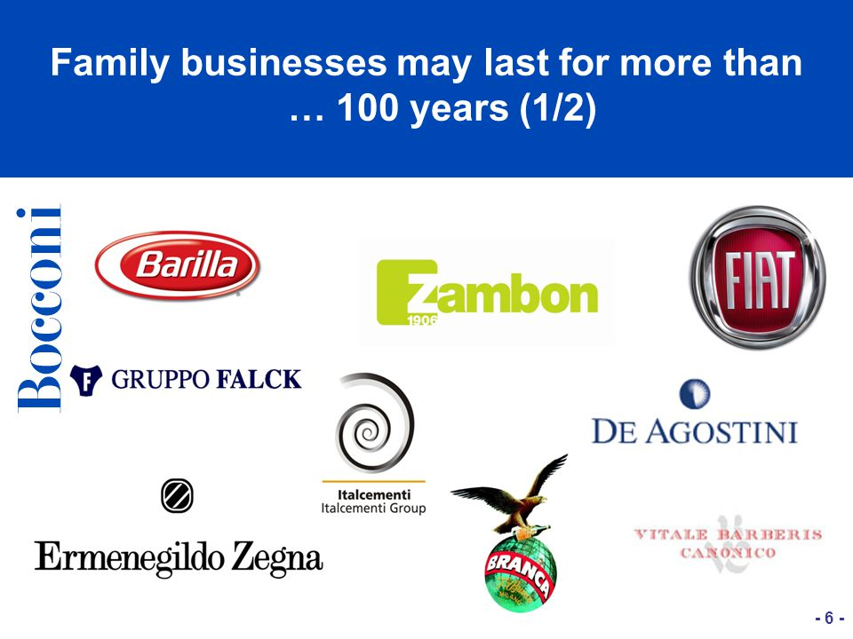 Family businesses may last for more than … 100 years (1/2) - 6 -