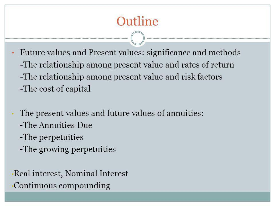 The future value formula Future Value = $C 0 * (1+r) t C 0 is the cash flow at first stage and generally assume negative value (that is the cost of investment) r is compound rate (1+r) t is the gain of interests and called compound interest