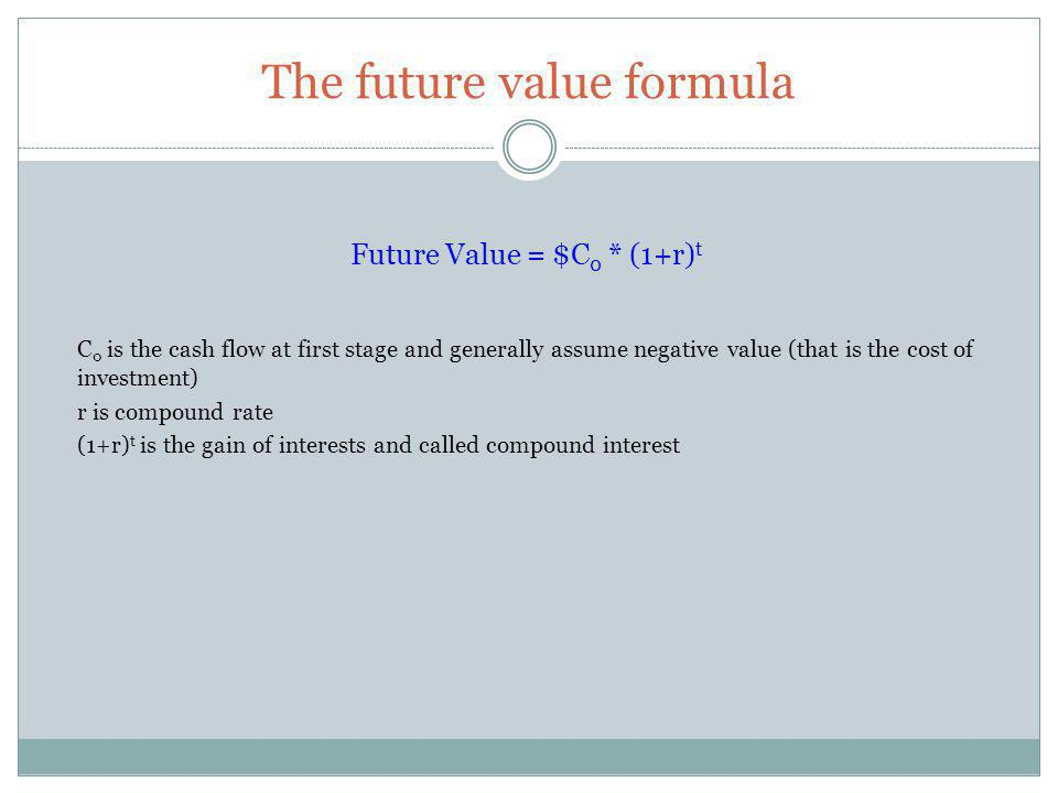 Key Formula MeaningFormula Discount factorDF=1/1+r Present ValuePV=DF x C 1 =C 1 /(1+r) Where: C 1 cash flow at the end of year 1, r opportunity cost of capital Net Present ValueNPV =C 0 + C 1 /(1+r) Where: C 0 is the cost of investment (negative) C 1 first cash flow, r opportunity cost of capital PerpetuityPV=1/r Where : r opportunity cost of capital