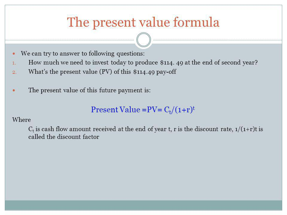 The Annuity: future value Sometimes you need to calculate the future value of a level stream of payments You find it first we must calculate its presente value and then multiplying by (1+r) t Future Value at the end of year t =PV * (1+r) t Future Value at the end of year t = [1/r – 1/r(1+r) t ] * (1+r) t = [(1+r) t -1]/r Example Saving to buy a sailboat Perhaps your ambition is to buy a sailboat, something like a 40-foot Benetou would fit the bill very well.