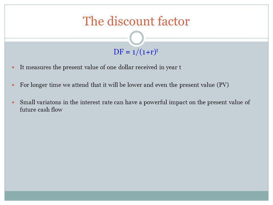 The discount factor: exercise If the PV of $139 is $125, what is the discount factor.