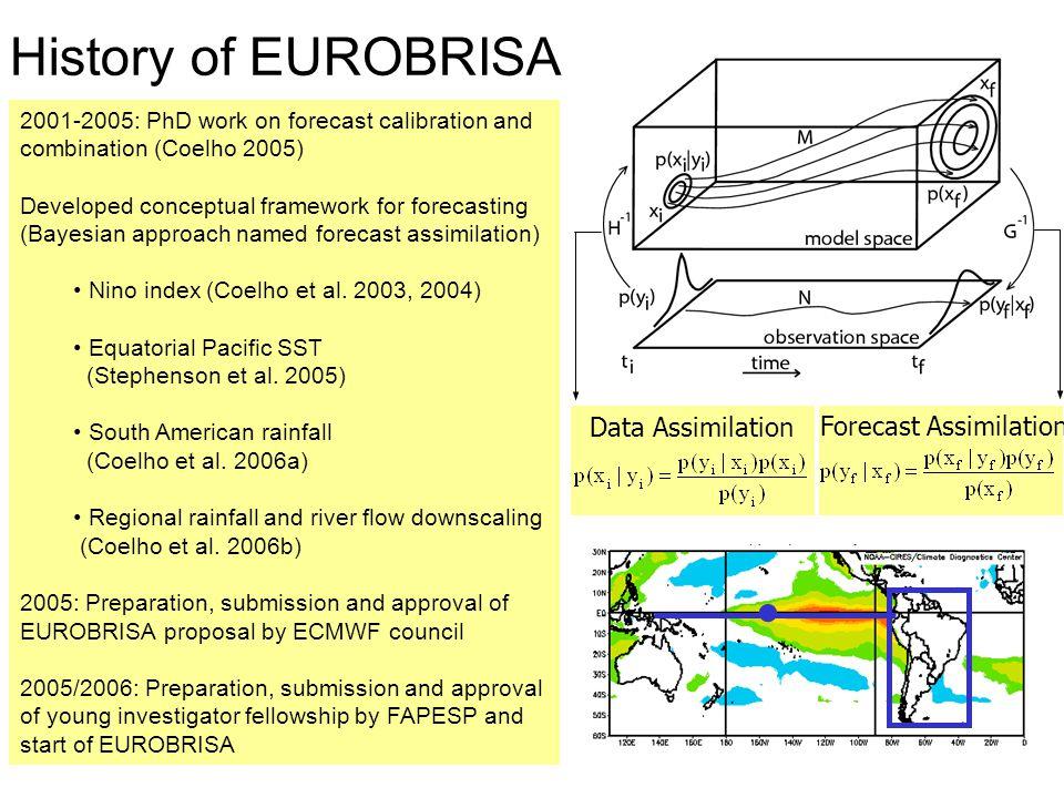 ForecastCorrelationBrier Score Multi-model0.570.22 FA0.740.17 South box: NDJ rainfall anomaly Multi-model Forecast assimilation  Forecast assimilation improves skill substantially - - - Observation Forecast (Coelho et al.