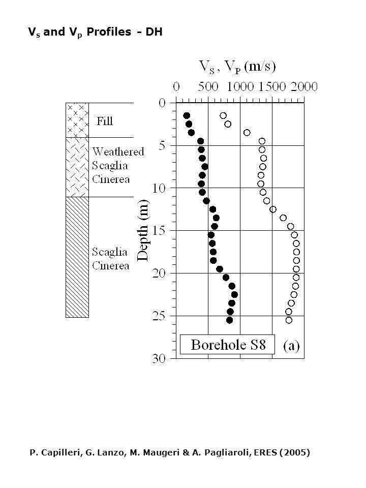 V s and V p Profiles - DH P. Capilleri, G. Lanzo, M. Maugeri & A. Pagliaroli, ERES (2005)