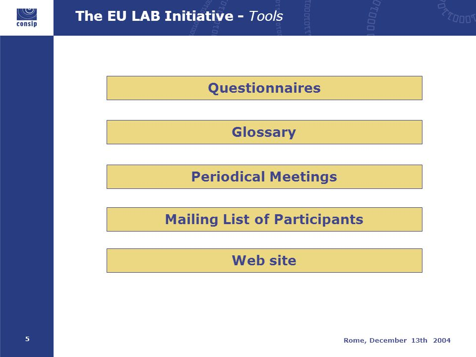 5 Rome, December 13th 2004 The EU LAB Initiative - Tools Mailing List of Participants Periodical Meetings Questionnaires Glossary Web site