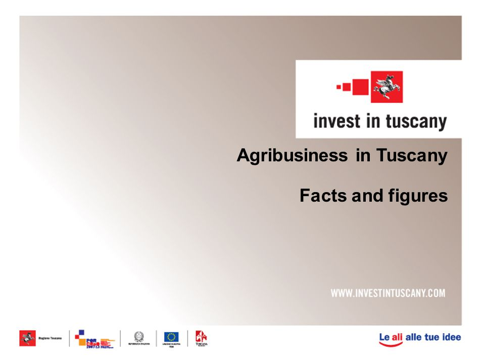 Excellences in Tuscan agribusiness Organic faming is developing across the region: Around 2400 firms are involved in organic farming (3.4% of total firms): -1860 firms produce organic olive oil - 960 firms produce organic wine Cultivated surfaces doubled between 2000 and 2010 Organic farming Renewable energy 2165 farm business firms product renewable energy.