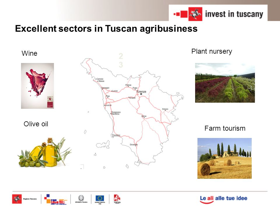 Excellent sectors in Tuscan agribusiness Major R&D centers and Universities in Tuscany Per ogni affermazi one diamo cifre di evidenza (+ 1 slide)d 2323 Olive oil Wine Plant nursery Farm tourism