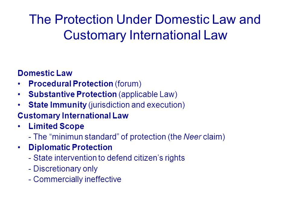 The Protection Under Domestic Law and Customary International Law Domestic Law Procedural Protection (forum) Substantive Protection (applicable Law) State Immunity (jurisdiction and execution) Customary International Law Limited Scope - The minimun standard of protection (the Neer claim) Diplomatic Protection - State intervention to defend citizen's rights - Discretionary only - Commercially ineffective