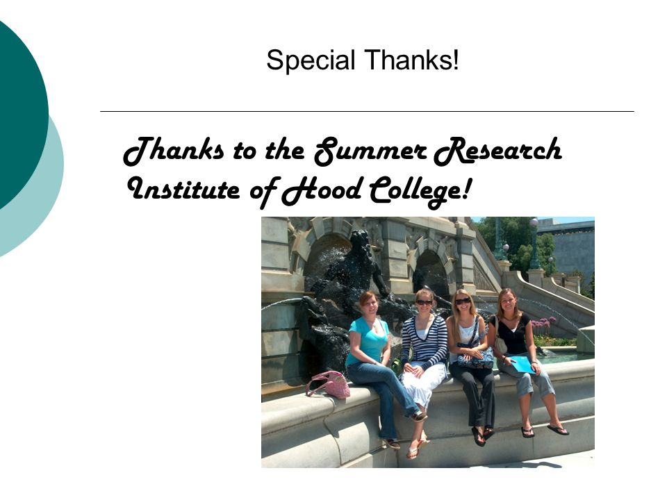 Thanks to the Summer Research Institute of Hood College! Special Thanks!
