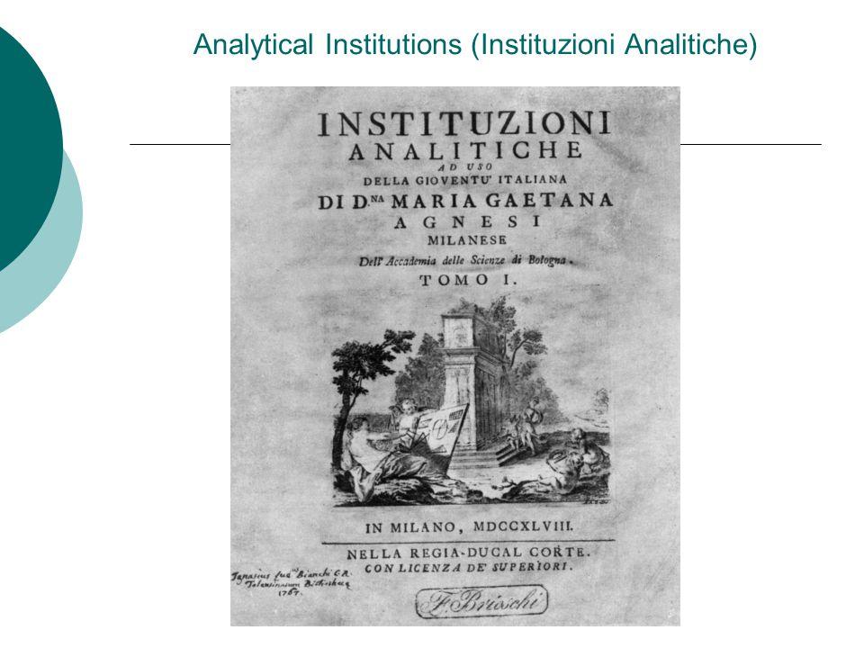 Analytical Institutions (Instituzioni Analitiche)