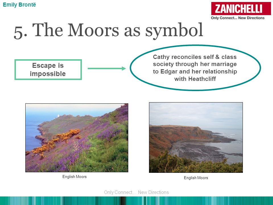 5. The Moors as symbol Escape is impossible Cathy reconciles self & class society through her marriage to Edgar and her relationship with Heathcliff E