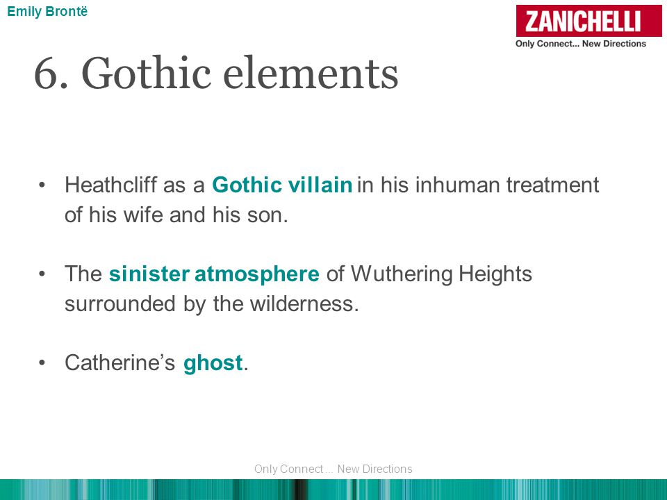 Heathcliff as a Gothic villain in his inhuman treatment of his wife and his son.