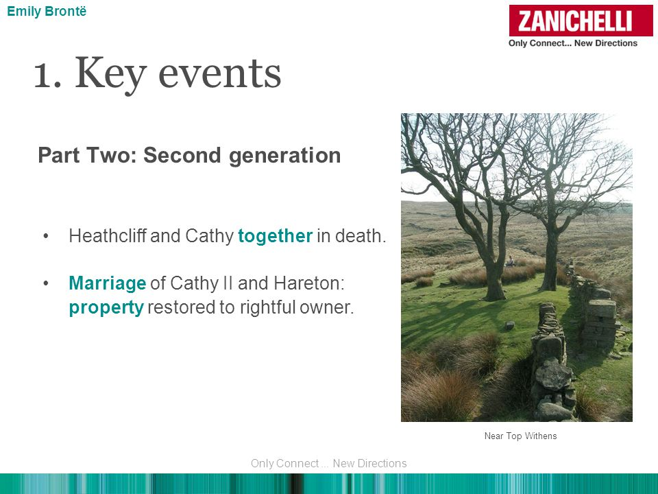 1. Key events Emily Brontë Heathcliff and Cathy together in death. Marriage of Cathy II and Hareton: property restored to rightful owner. Part Two: Se